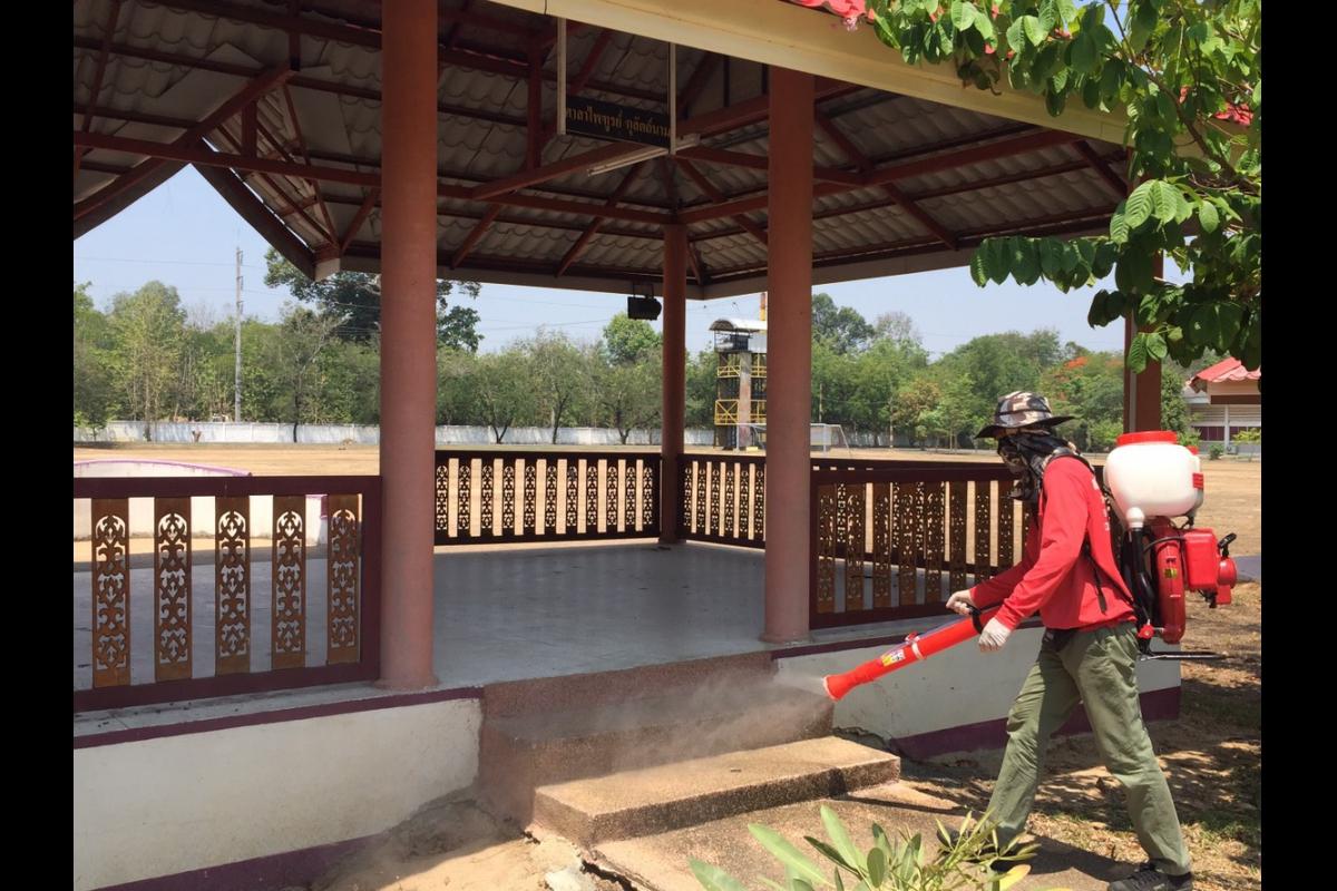 มว.พท.กก.3 บก.กฝ.บช.ตชด. ร่วมกับเทศบาลเมืองแจระแม จว.อุบลราชธานี ได้ทำการฉีดพ่นน้ำยาฆ่าเชื้อบริเวณอาคารภายนอก ภายในอาคารที่ทำการ หอประชุม โรงอาหาร โรงนอนและบ้านพักข้าราชการ เพื่อควบคุมและป้องกันการแพร่ระบาดของโรคติดเชื้อไวรัสโคโรนา 2019